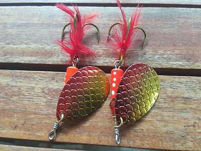 2 x Classic Freshwater Spinners for Trout Redfin Yellowbelly Bass Perch Size 2