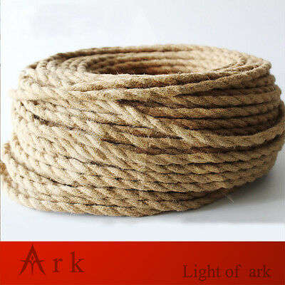 10meter Vintage Electrical hemp rope Twisted Cable Retro Braided Fabric Wire DIY