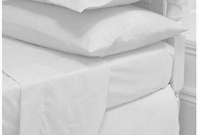 5 x White Cotton Rich Single XL Flat Sheets Very High Quality Hotel Bed Linen