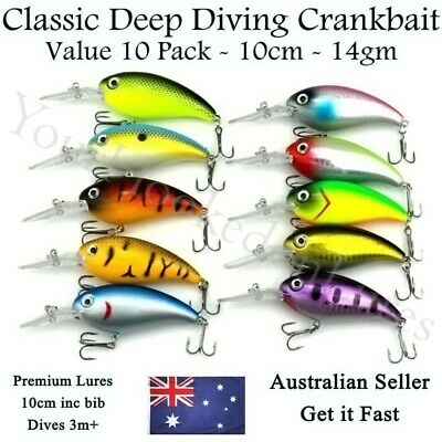 10 Freshwater Deep Diving Lures for Yellowbelly, Cod, Redfin. Perch. Bass. 10cm