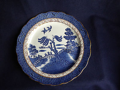 3x Booths Real Old Willow Salad Plate   Scalloped Gilt Rim   A8025