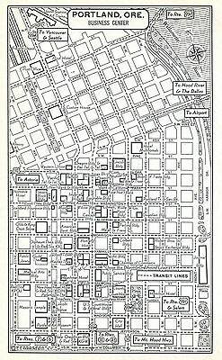 Portland Pittsburgh Downtown Map 1950s Original US City Business Center OR PA BW