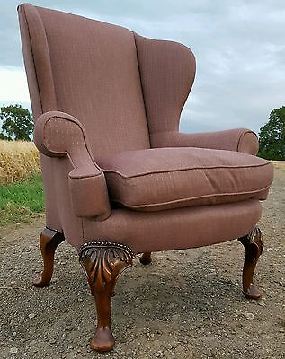 Antique vintage Georgian style wing back armchair newly upholstered