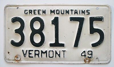 Vermont 1949 License Plate Antique Automobilia for Man Cave, Garage, Bar Decor