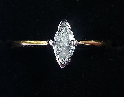 18ct Gold 0.25ct Marquise Diamond Solitaire Ring, Size L, US 5 3/4