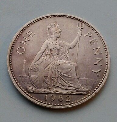 UK Great Britain 1 Penny 1962. KM#897. One Large cent coin. Elizabeth II.