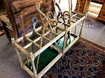 Antique Cane Rack In Natural  Finish With 16 Compartments