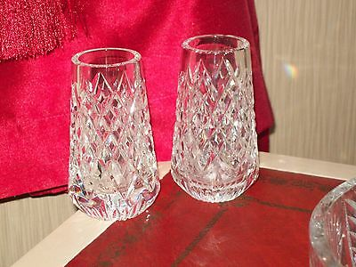 Tyrone Crystal Vases In 100% Perfect Condition,base Etched-Genuine Pieces.