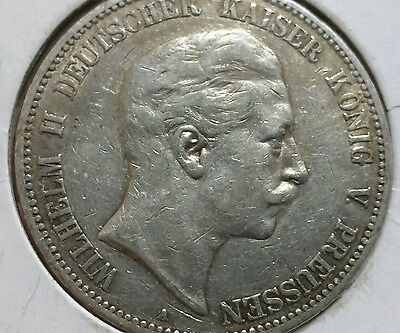 German States Prussia 5 Mark, 1904, large silver crown .900