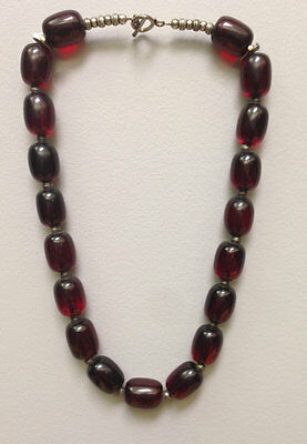 African Red Phenolic Resin Copal Amber Beaded Necklace
