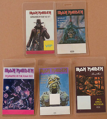 IRON MAIDEN - Collection of FIVE Laminated Backstage Tour Passes (x5)