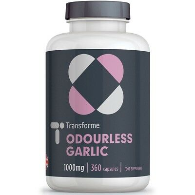 Odourless Garlic Capsules 1000mg High Strength Capsules by Transforme