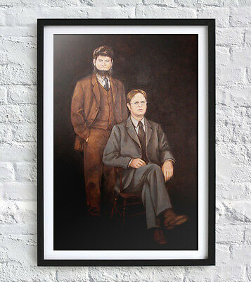 "Dwight & Mose Painting Reprint 19"" x 13"" The Office Dunder Mifflin"