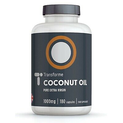 Coconut Oil Capsules 1000mg Bottle of 90 180 360 Cold Pressed by Transforme