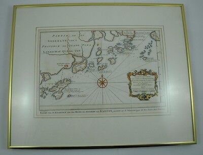 "Vintage Framed Original c1757 Map of Macao by Jacques-Nicolas Bellin ""VERY RARE"""