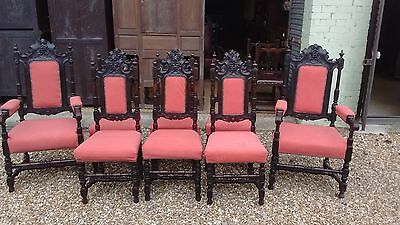 Set Of 8 Good Qualityvictoria Carved Oak Dining Chairs