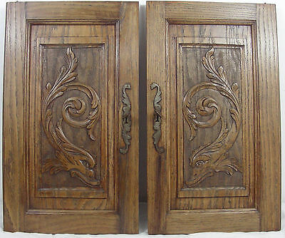 French antique door cabinet panel oak fish dragon