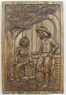 antique FRENCH wood  panel  carved breton