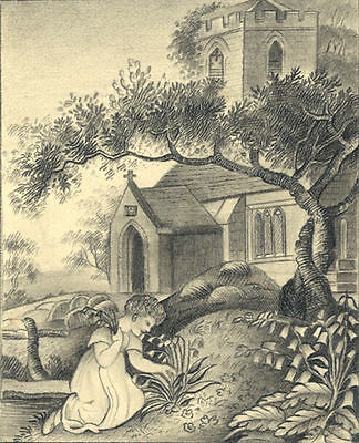 Child Flower Picking in Churchyard -Original early 19th-century graphite drawing