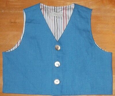 Patricia Smith boy's blue waistcoat striped cotton lining shell buttons Wedding