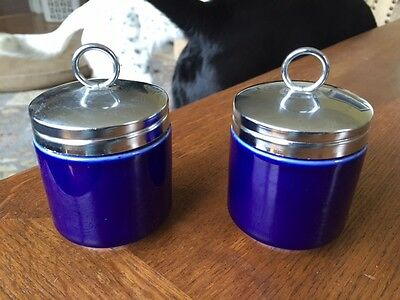 Cobalt Blue Egg Coddlers Williams Sonoma pair 3 inches tall