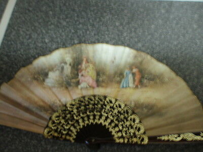 Ladies Hand Fan Decorated With Flowers With Classical Background 15 Inch Exended