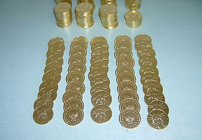 100 Golden Slot Machine Tokens - Newly Minted Dollar Size - Introductory Special