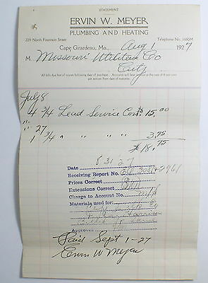 Rare Signed Ervin W. Meyer 1927 Bill Head Cape Girardeau MO Plumbing & Heating