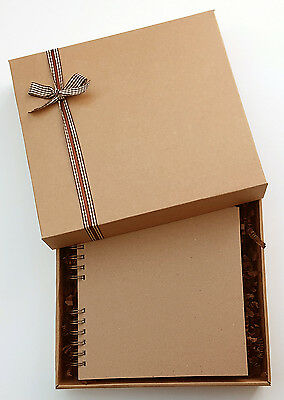 """Plain Kraft Brown Scrapbook, 8""""x 8"""" boxed memory book gift, to decorate yourself"""