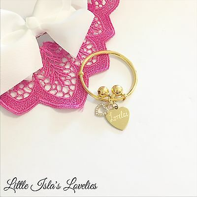 Baby Child Charm NAME Bangle Gold �� Diamantè Heart - FREE ENGRAVING ✨��