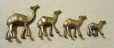 Lot of 4 Vintage Brass Camels Figurines Miniatures Collectible