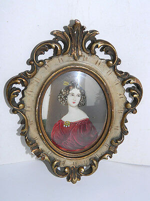 German Baroque Hand-Painted Woman Portrait w/ GP Wooden Frame, ca.1800
