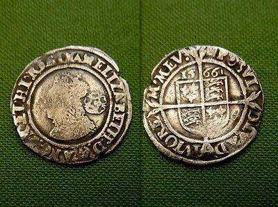 Genuine Elizabeth Silver Sixpence Hammered 1566 Great Britain Coin