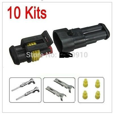 Car Part 2 Pin Way Sealed Waterproof Electrical Wire Auto Connector Plug Set