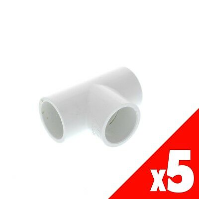 Tee PVC 25mm HR-P0192525 Pressure Pipe Fitting x5
