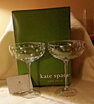 Kate Spade Bubbly Dot Champagne Glasses 2 Sets of 2 NIB