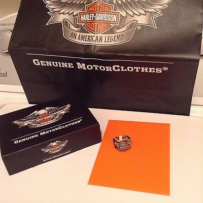 """HARLEY DAVIDSON THIERRY MARTINO COLLECTION SILVER SKULL RING """"GUNS and  WINGS """""""