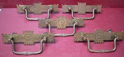 5 ANTIQUE FANCY WROUGHT BRASS DROP PULL HANDLES LATE 1800s -1900s #1