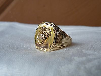 OSTBY BARTON 125 years old USMC14K GOLD SHELL STER RING Sz10.5 TITANIC NOT SCRAP