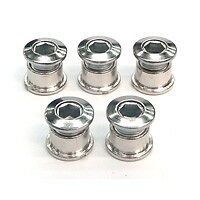Set of Double Chainring Bolts (5) Stud Chrome Plated SILVER #2244