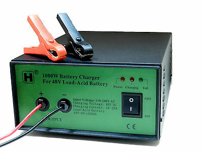 1000W (48V) Sealed Lead-Acid Battery Charger with Alligator Clips
