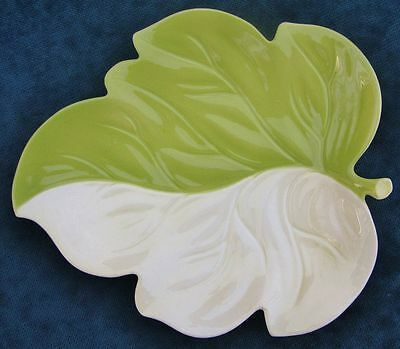 Pretty Vintage Carlton Ware Hand Painted  Green Leaf Shaped Dish