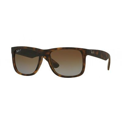 New Ray Ban JUSTIN RB4165 865/T5 55MM Rubber Havana / Brown Gradient Polraized