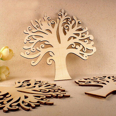 Wooden Mdf Autumn Tree Shape Craft Blank Wedding Guestbook Decoupage Family