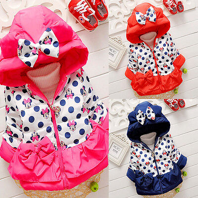 3-5Y Toddler Kid Girl Minnie Mouse Coat Winter Warm Jacket Hooded Outerwear Cute