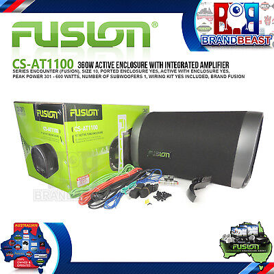 """New Fusion Cs-at1100 10"""" 360w Active Bass Tube Built-in Amp Subwoofer Car Audio"""