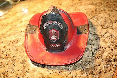 Old Vintage Fireman's Fire Chief Red Hat Bank