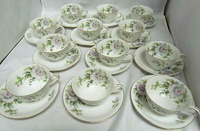 Vtg 12 CUPS & SAUCERS Occupied Japan Melrose Pattern Tyoto China WHITE FLOWER !!