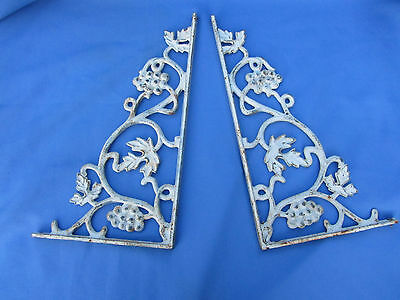 2 Antique Salvage CAST IRON GRAPE & LEAF Brackets Shelf