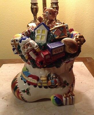 Omnibus Fitz & Floyd Christmas Stocking Cookie Jar Very Nice & Cute